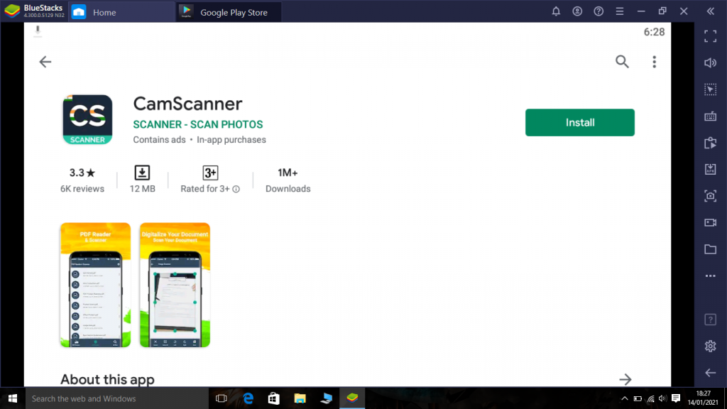 Camscanner app on PC
